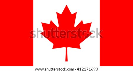 Flag of Canada in correct proportions and colors - stock vector
