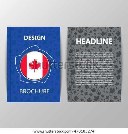 Flag of Canada isolated on world Cup of Ice Hockey 2016 background brochure. International hockey championship. National Hockey League Players Association. Vector. Canadian participant flag