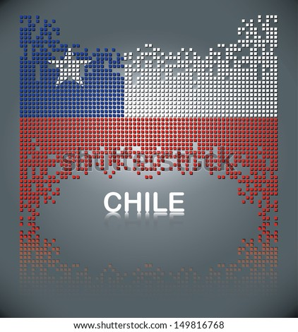 Flag of Chile from square blocks, vector - stock vector