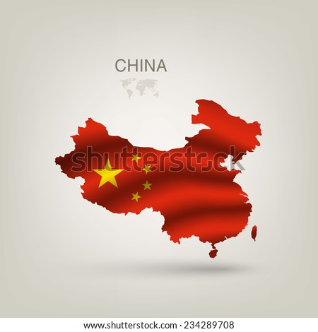 Flag of China as a country with a shadow - stock vector