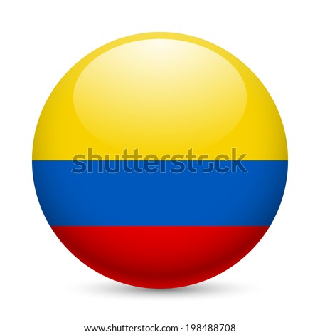 Flag of Colombia as round glossy icon. Button with Colombian flag - stock vector