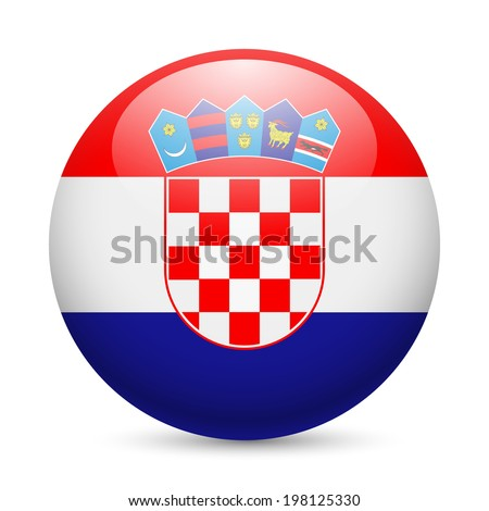 Flag of Croatia as round glossy icon. Button with Croatian flag - stock vector