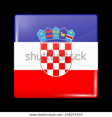 Flag of Croatia. Glossy Icons Square Shape. This is File from the Collection European Flags - stock vector