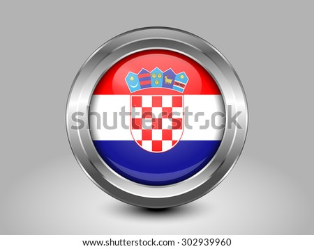 Flag of Croatia. Metal Round Icons. This is File from the Collection European Flags - stock vector