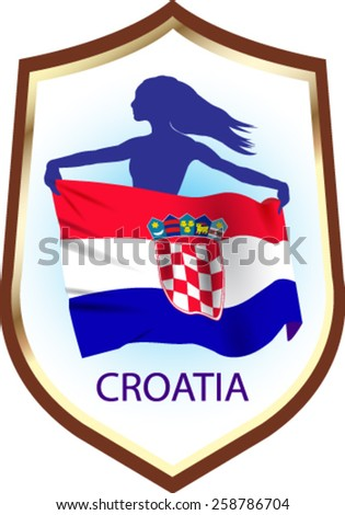 Flag of Croatia with blazon - vector illustration. - stock vector