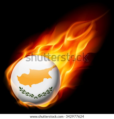 Flag of Cyprus as round glossy icon burning in flame