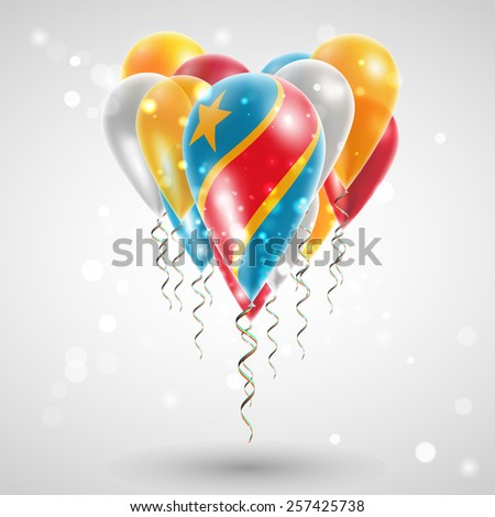 Flag of Democratic Republic of Congo on air balls in heart-shaped. Celebration and gifts. Ribbon in  colors of flag are twisted under balloon. Independence Day. Balloons on the feast of national day - stock vector
