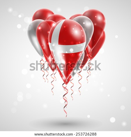 Flag of Denmark on air balls in heart-shaped. Celebration and gifts. Ribbon in the colors of the flag are twisted under the balloon. Independence Day. Balloons on the feast of the national day.  - stock vector