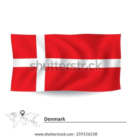 Flag of Denmark - vector illustration - stock vector