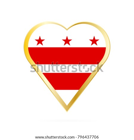 Flag District Columbia Shape Heart Symbol Stock Vector Royalty Free