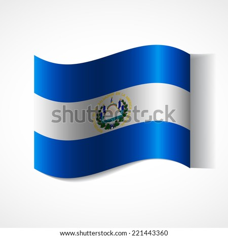 Flag of El Salvador in waveform. Flag fluttering in the wind. Ribbon in the colors of the flag are twisted. Independence Day.  - stock vector