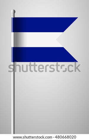 Flag of El Salvador. National Flag on Flagpole. Isolated Illustration on Gray Background