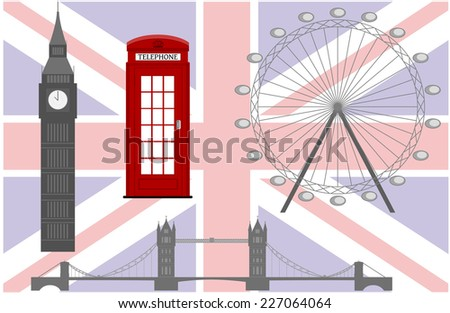 Flag of England from symbols of the United Kingdom and London - stock vector