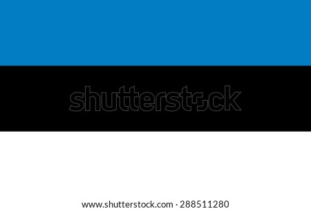Flag of Estonia .Official state symbol of the Republic of Estonia. Correct size, proportions and colors. Three stripes - blue, black, white. For political articles, news and official events. - stock vector