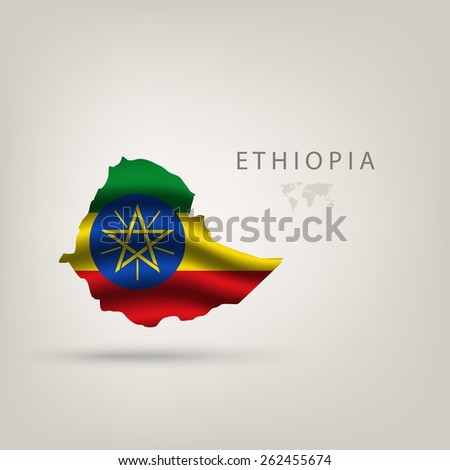 Flag of ETHIOPIA as a country with shadow - stock vector