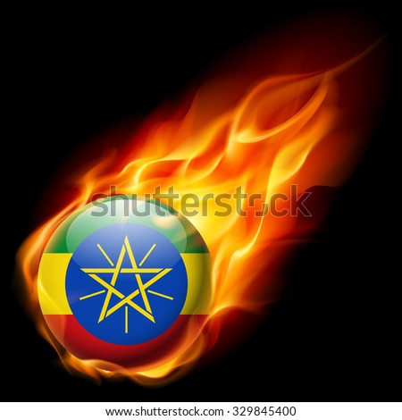 Flag of Ethiopia as round glossy icon burning in flame - stock vector