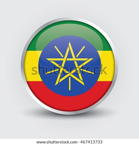 Flag of Ethiopia glossy button