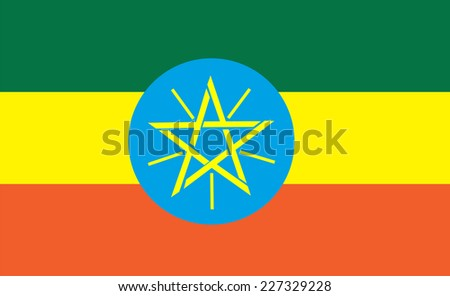 Flag of Ethiopia. Vector illustration.
