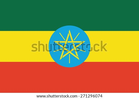 Flag of Ethiopia. Vector illustration