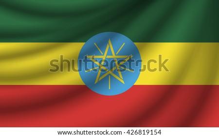 Flag of Ethiopia,vector illustration - stock vector