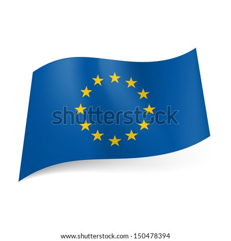 Flag of Europe: circle of twelve golden stars on blue background. Symbol of unity. - stock vector