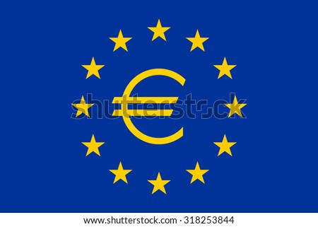 Flag of Europe (flag of European Union) with Euro sign, vector - stock vector