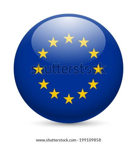 Flag of European Union as round glossy icon. Button with EU flag - stock vector