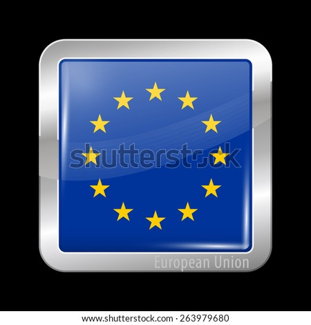Flag of European Union. Metal Icons Square Shape. This is File from the Collection European Flags - stock vector