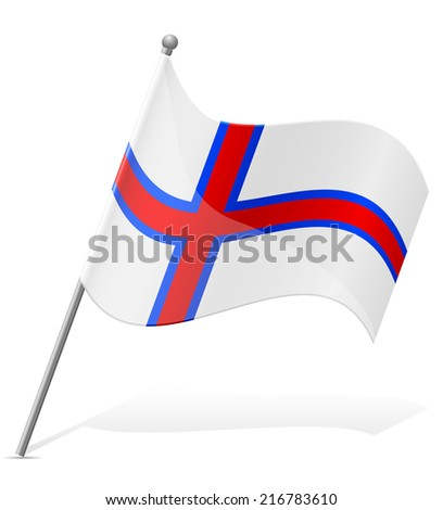flag of Faroe Islands vector illustration isolated on white background - stock vector