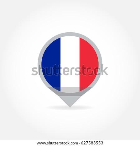 Flag France Shape Map Pointer Marker Stock Vector 627583553