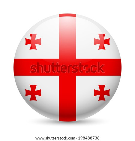 Flag of Georgia as round glossy icon. Button with Georgian flag - stock vector