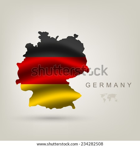 flag of Germany as a country with a shadow - stock vector