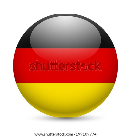 Flag of Germany as round glossy icon. Button with German flag - stock vector