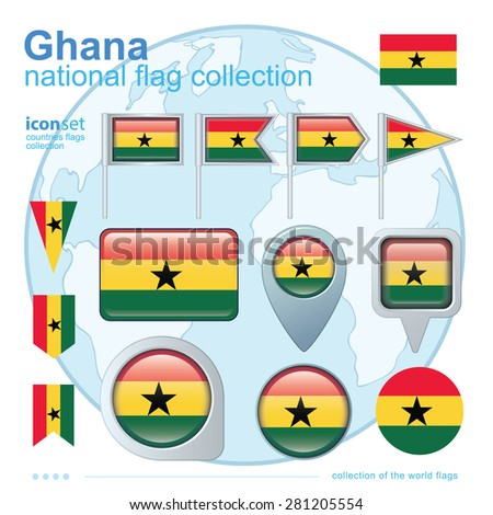 Flag of Ghana, icon collection, vector illustration