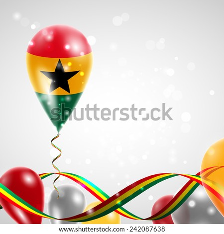 Flag of Ghana on balloon. Celebration and gifts. Ribbon in the colors of the flag are twisted under the balloon. Independence Day. Balloons on the feast of the national day.  - stock vector