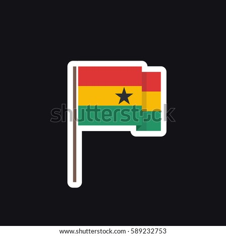 Flag of ghana sticker vector illustration