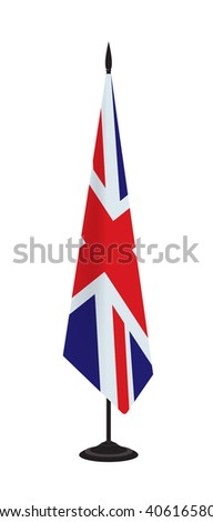 Flag of Great Britain on a flagstaff. Vector illustration - stock vector