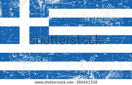 Flag of Greece. Grungy, worn, scratched style - stock vector