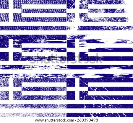 Flag of Greece with old texture. Vector illustration - stock vector