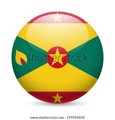 Flag of Grenada as round glossy icon. Button with Grenadian flag - stock vector