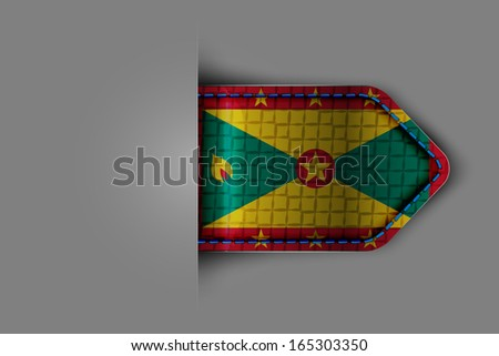 Flag of Grenada in the form of a glossy textured label or bookmark. Vector illustration. - stock vector