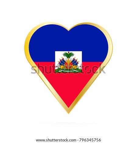 Flag Haiti Shape Heart Symbol Love Stock Vector 796345756 Shutterstock