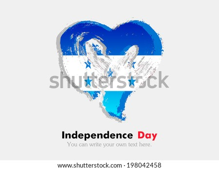 Flag of Honduras. Flag in the shape of heart in grungy style. Independence Day. - stock vector