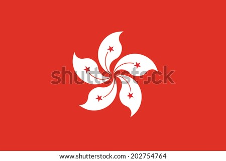 Flag of Hong Kong. Vector. Accurate dimensions, element proportions and colors. - stock vector