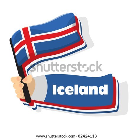Flag of iceland icon, vector flags of europe series.