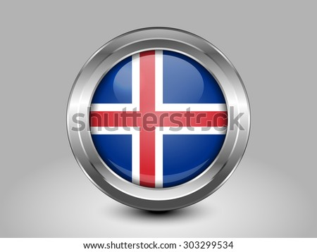 Flag of Iceland. Metal Round Icons. This is File from the Collection European Flags - stock vector