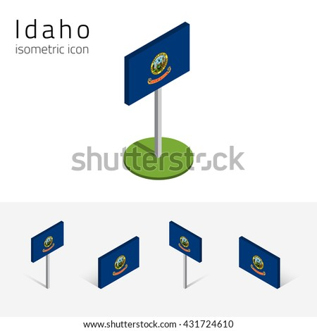 Flag of Idaho (State of Idaho, USA), vector set of isometric flat icons, 3D style, different views. Editable design element for banner, website, presentation, infographic, poster, map, collage. Eps 10 - stock vector