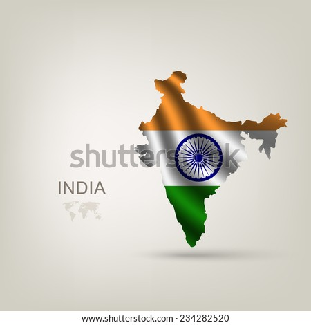 Flag of India as a country with a shadow - stock vector