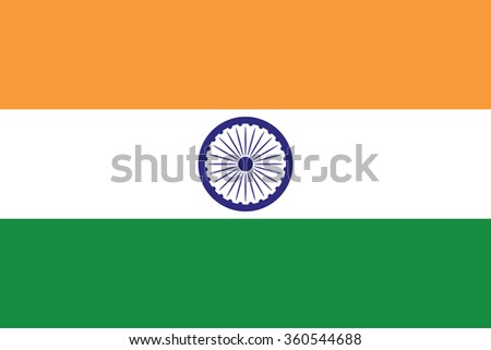 Flag of India illustration  3 stylish colors - stock vector