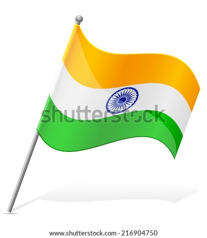 flag of India vector illustration isolated on white background - stock vector